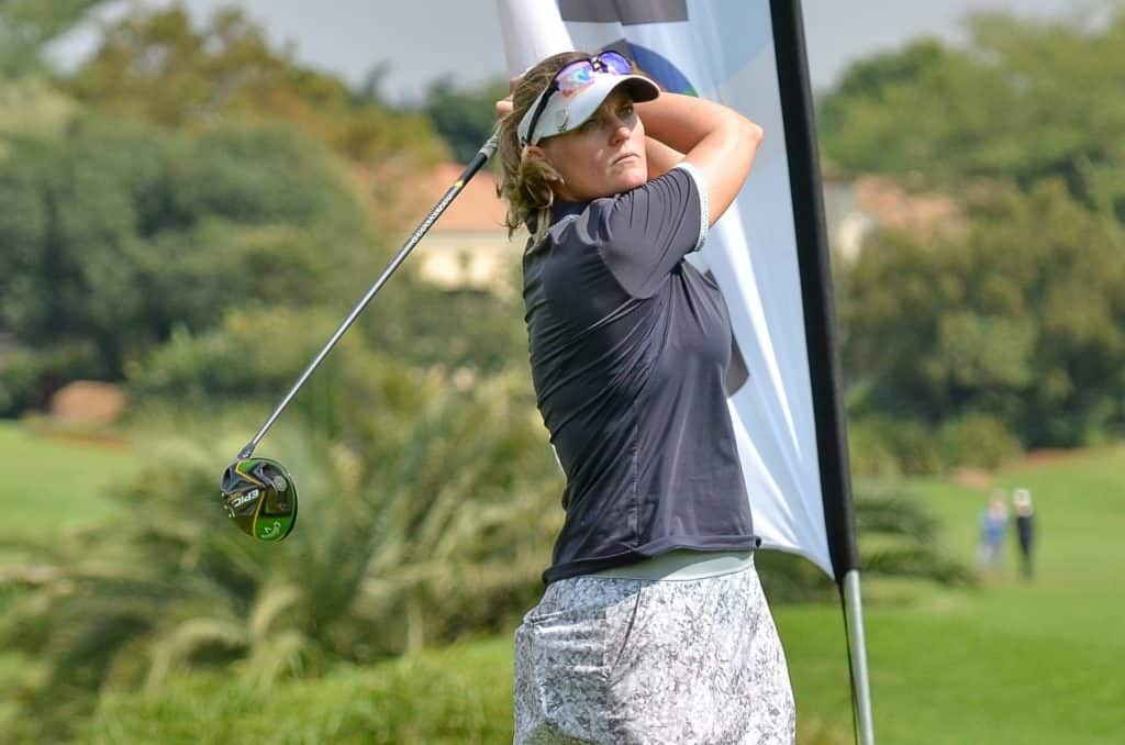 Vicki Traut from Western Province fired an even-par 72 in windy conditions to lead the first round of the SA Women's Mid-Amateur at Selborne Golf Estate, Hotel and Spa; credit GolfRSA.