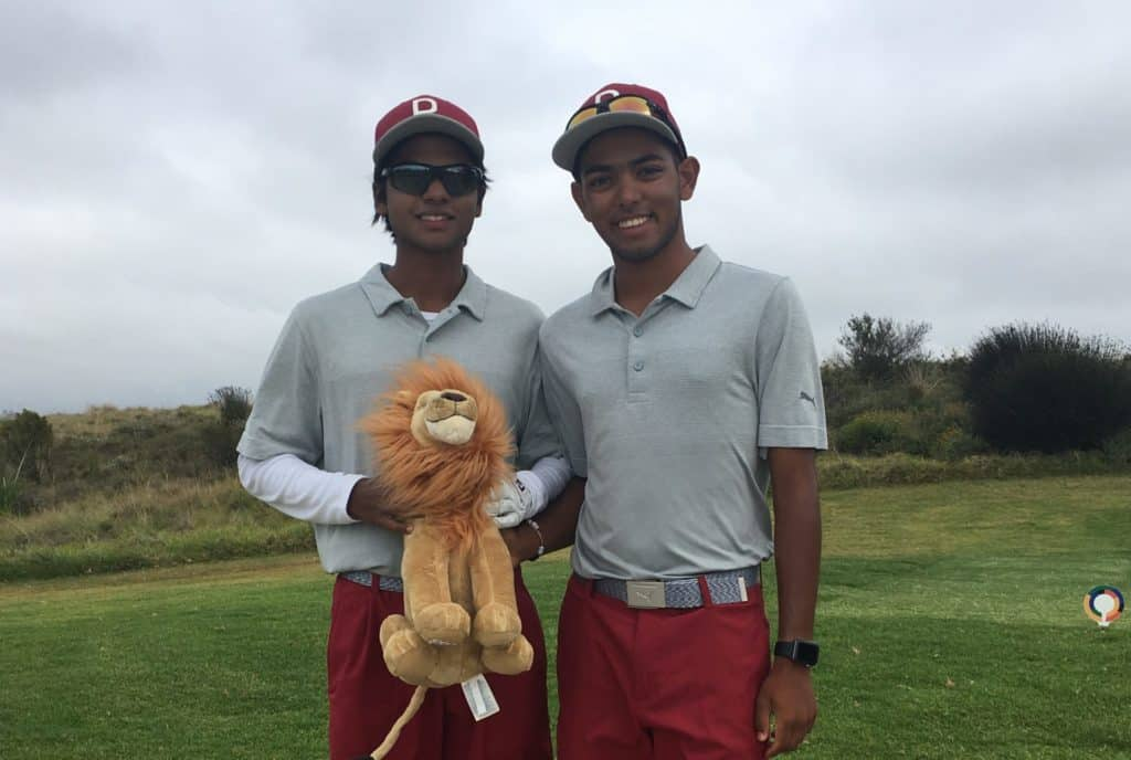 Reigning Nomads SA Boys U-15 champion Amilkar Bhana and 2019 Friends of Engelberg Challenge winner Nikhil Rama helped Central Gauteng into an attacking position ahead of the final round of the South African Under-19 Inter-Provincial hat-trick at Oubaai Hotel, Golf and Spa; credit GolfRSA.