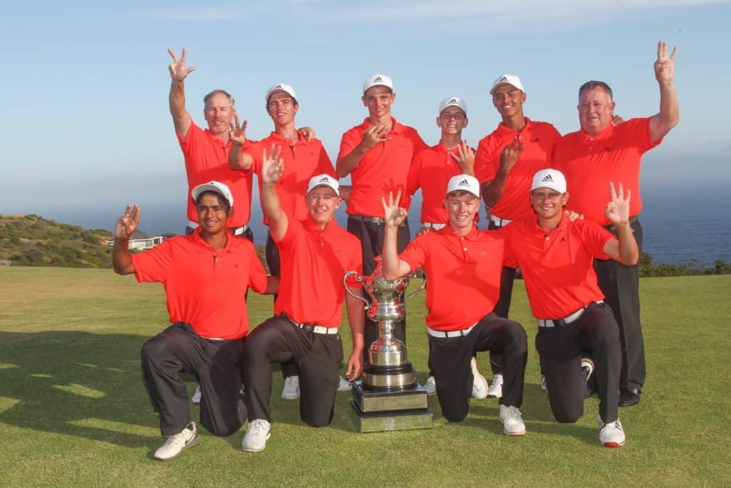 Hat-trick heroes Ekurhuleni closed out their third successive victory in the South African Under-19 Inter-Provincial with an unbeaten week at Oubaai Hotel, Golf and Spa; credit Pieter Els.