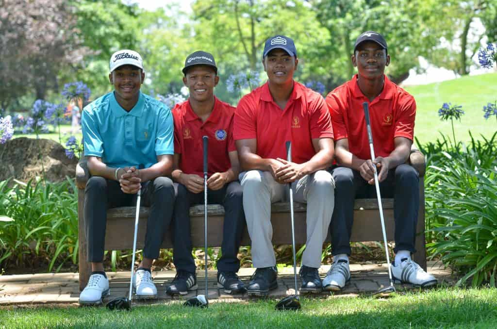 Four of the South African Golf Development Board's leading lights currently competing on the GolfRSA amateur circuit: Carl Mwale (Gauteng), Alric Rooi (Boland), Keyan Loubser (Western Province) and Thobelani Magwaza (KwaZulu-Natal); credit GolfRSA.