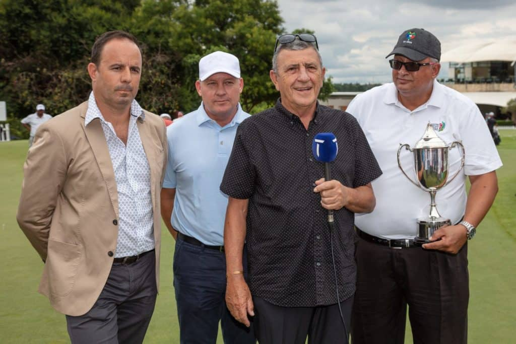 Ivano Ficalbi, Chief Executive of the PGA of South Africa; Grant Hepburn, Chief Executive Officer of GolfRSA and Managing Director of the South African Golf Development Board (SAGDB); Selwyn Nathan, Commissioner of the Sunshine Tour; and Naadir Agherdien, President of the South African Golf Association (SAGA), at the announcement of the Denis Hutchinson Challenge Trophy at Randpark Golf Club on Saturday. Credit: Sunshine Tour.
