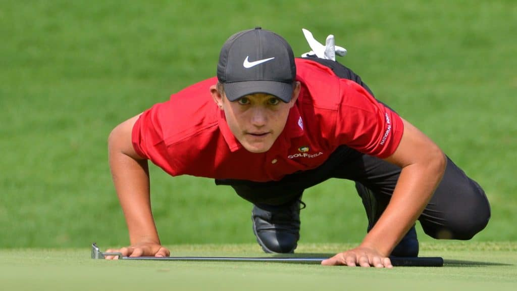 GolfRSA Junior Protea Christiaan Maas knocked out world-beater Martin Vorster for a spot in the quarter-finals of the Aon South African Amateur Championship at Royal Johannesburg & Kensington Golf Club on Thursday; credit Ernest Blignault.