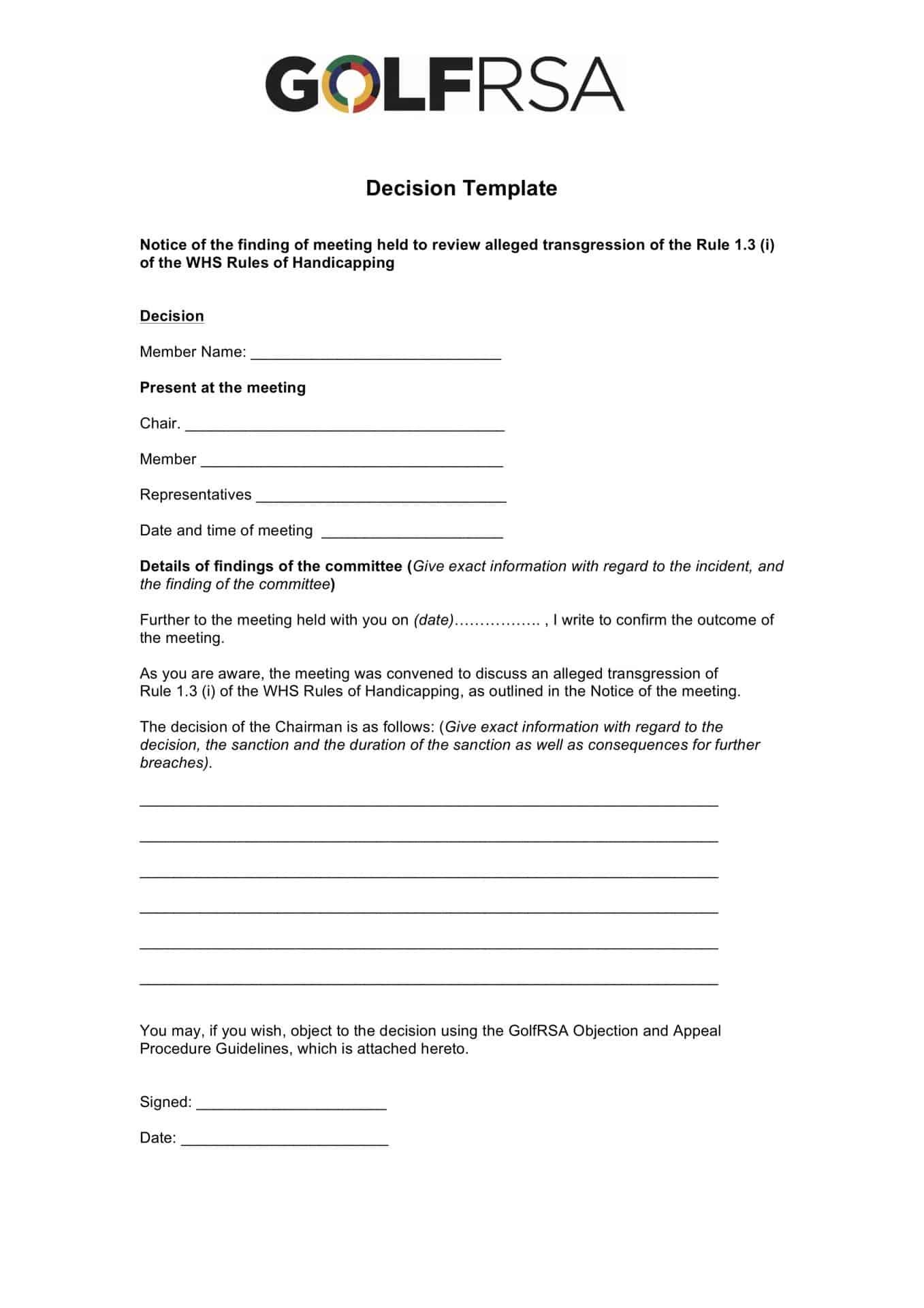 GolfRSA Decision template