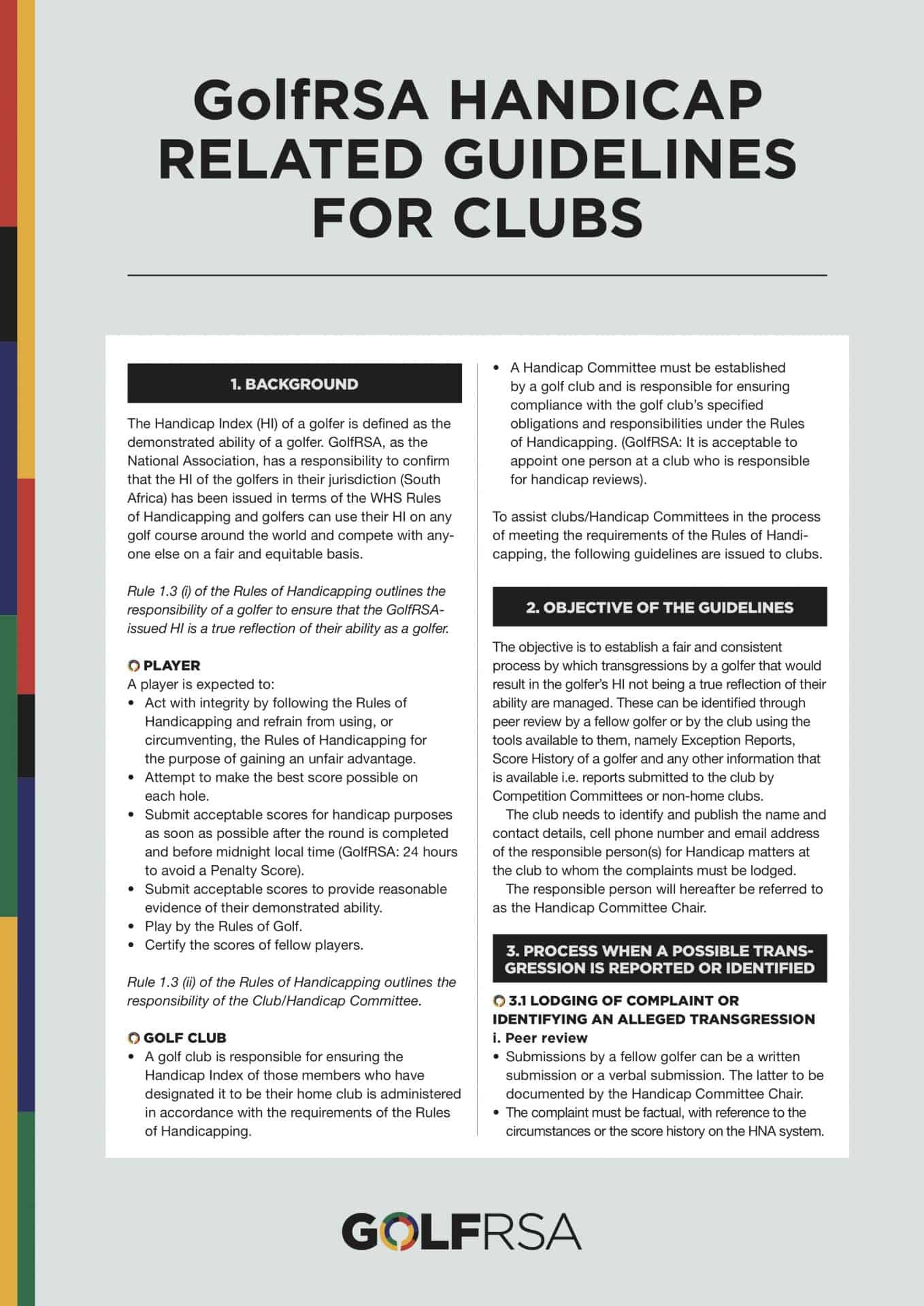 GolfRSA Handicap Related Guidelines for Clubs - 1
