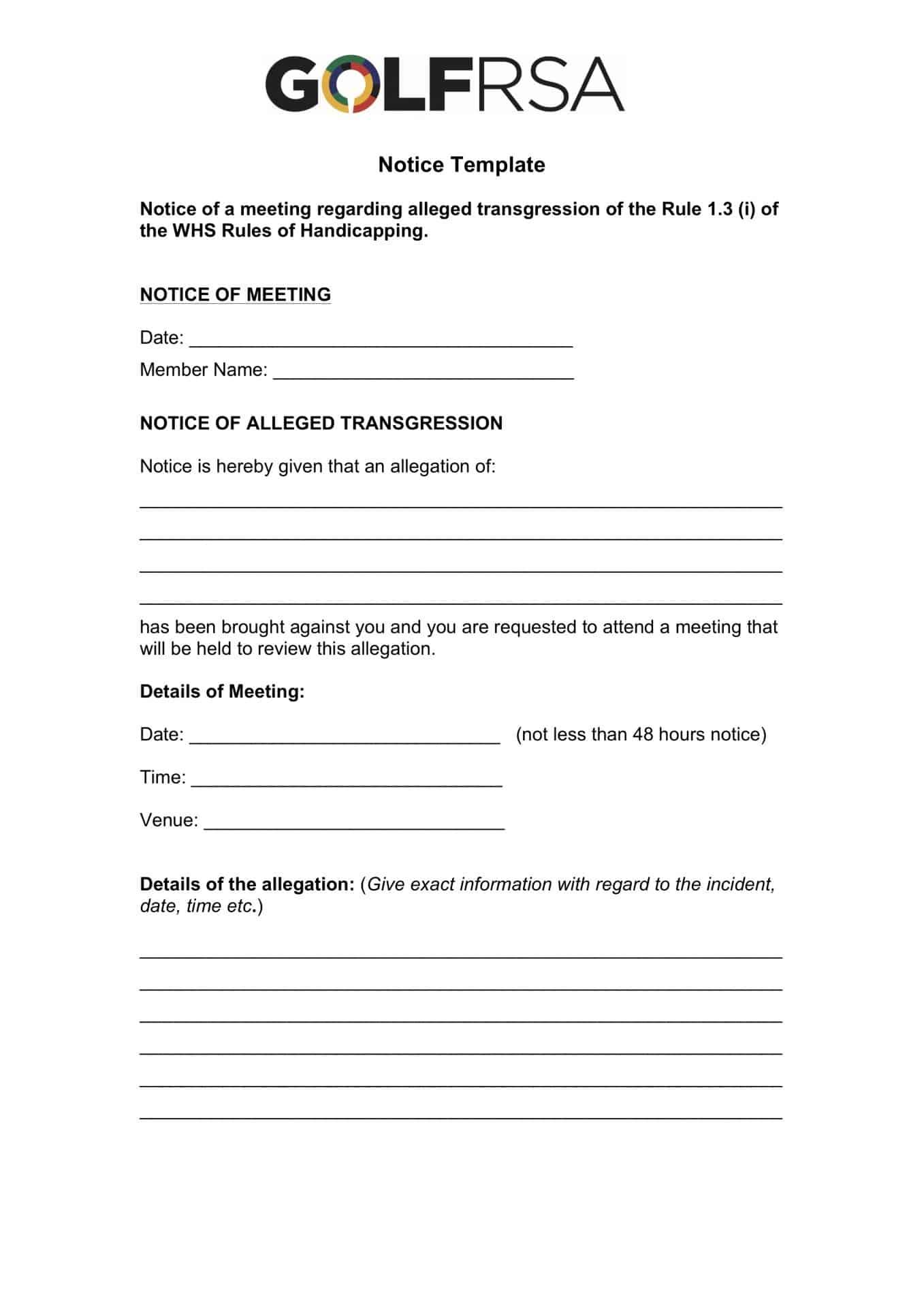 GolfRSA Notice of meeting template 1