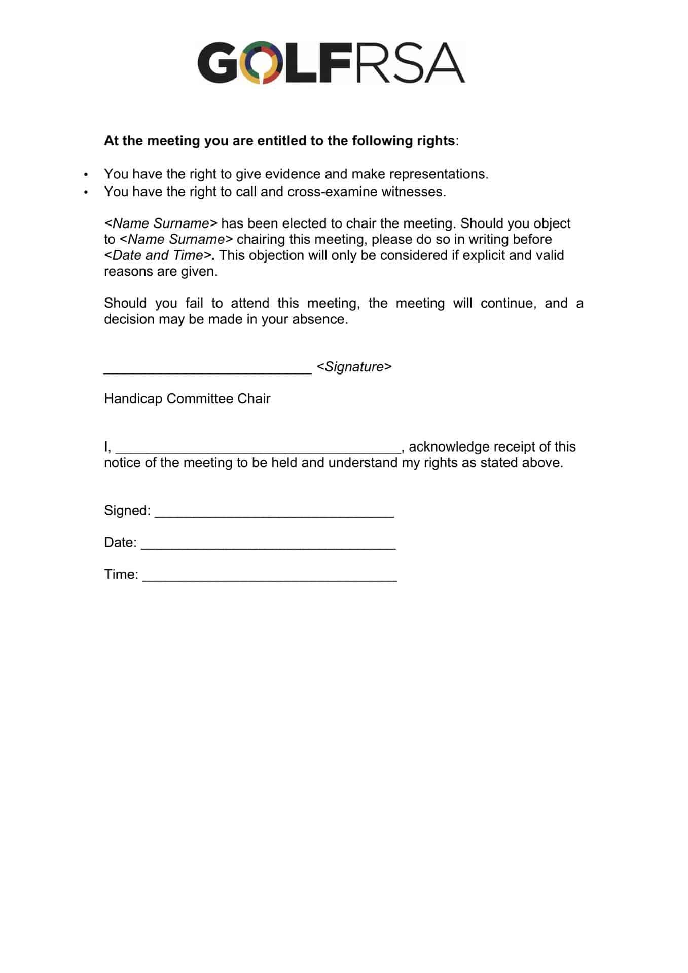 GolfRSA Notice of meeting template 2