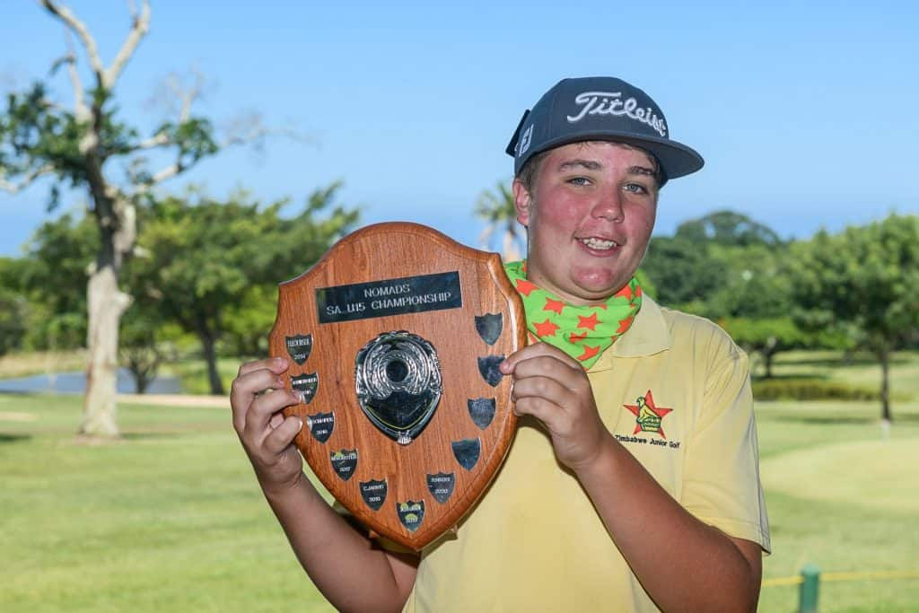 Keegan Shutt from Zimbabwe celebrated his first GolfRSA national junior win with a two-shot victory in the Nomads SA Under-15 Championship at Selborne Golf Club; credit Justin Klusener.