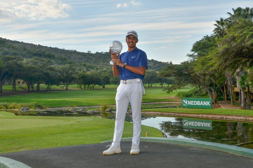 GolfRSA National Squad member Yurav Premlall became the first Nedbank Junior Challenge champion with a wire-to-wire victory at the Gary Player Country Club; credit Ernest Blignault