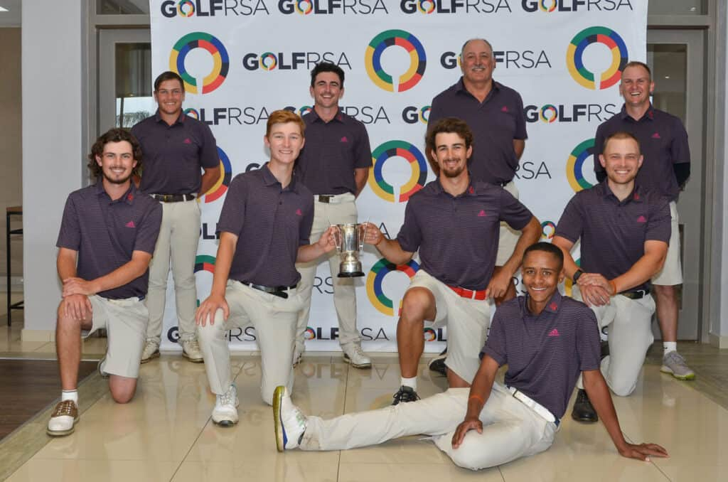 Eastern Province celebrates the reward of an unbeaten week at San Lameer Country Club as the B-Section winners of the 60th SA Inter-Provincial Tournament; credit GolfRSA.