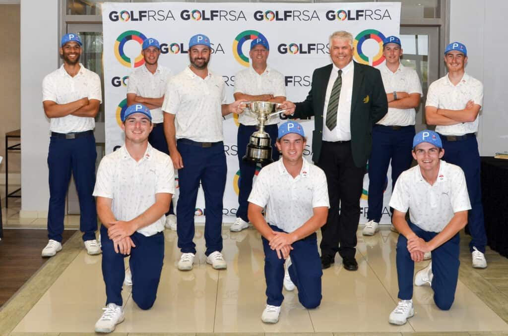 Victorious Western Province celebrate their A-Section success in the 2021 SA Inter-Provincial at San Lameer Country Club; credit GolfRSA.