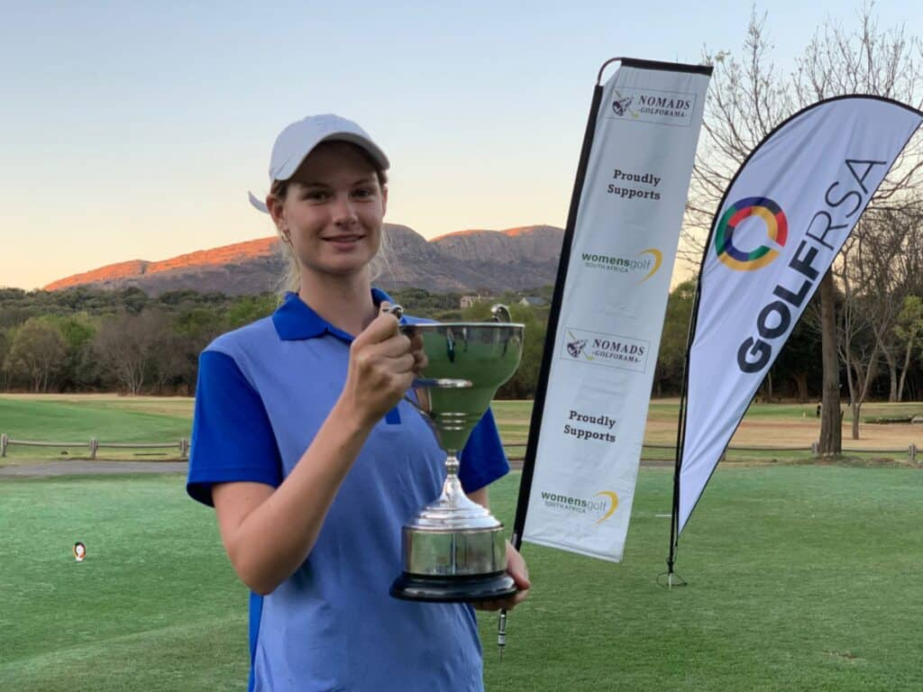 Western Province junior Bobbi Brown celebrated her first national success with an emphatic eight-stroke triumph in the Nomads SA Girls Championship at Magalies Park Country Club in September; credit GolfRSA.